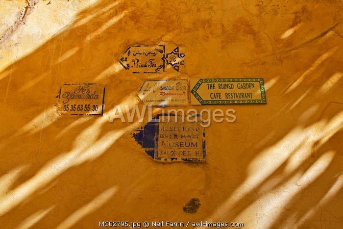 Signage, Medina, Fez, Morocco, North Africa