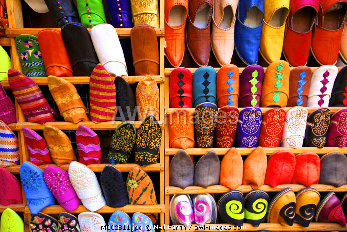 Moroccan Babouche Slippers, Medina, Fez, Morocco, North Africa