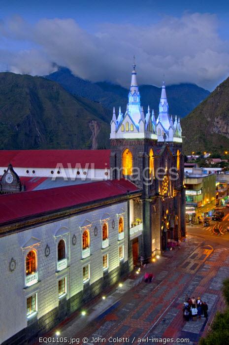 Church of The Virgin of The Holy Water, Nuestra Senora del Agua Santa, Neo-Gothic Style Church, Built With Volcanic Rocks, Banos, Ecuador, Tungurahua Province