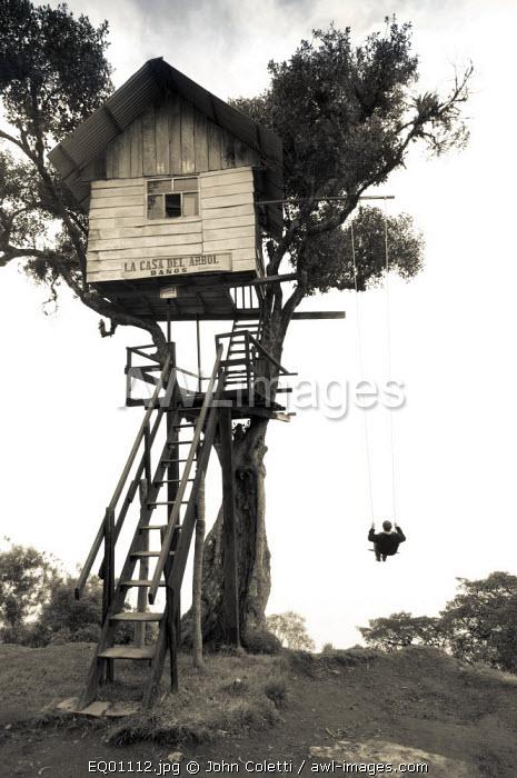 Swing At The End of The World, Tourist, Adventure Destination, La Casa Del Arbol, Treehouse Built To Monitor The Tungurahua Volcano, Limited Visibility Because of Fog, Banos, Ecuador, Tungurahua Province
