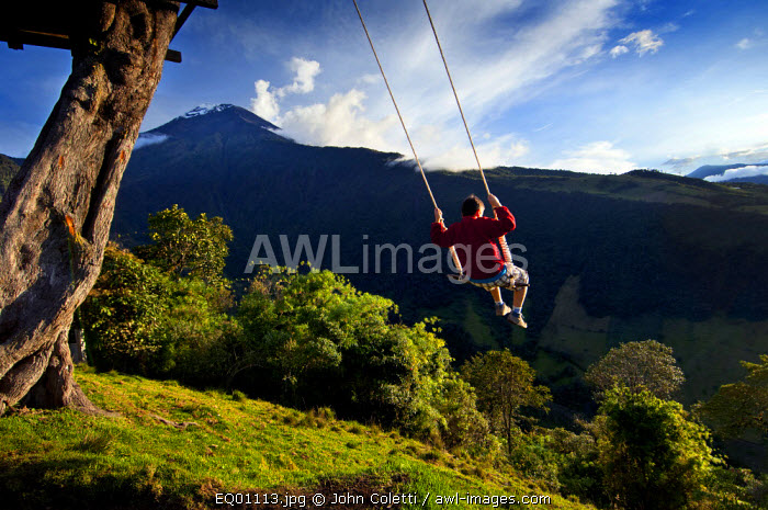 Swing At The End of The World, Tourist, Adventure Destination, La Casa Del Arbol, Treehouse Built To Monitor The Snow Covered And Very Active Tungurahua Volcano, Banos, Ecuador, Tungurahua Province