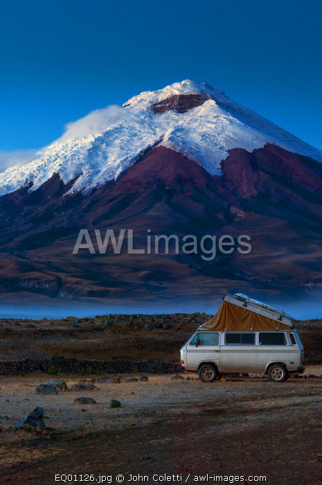Cotopaxi National Park, Snow-Capped Cotopaxi Volcano, One of The Highest Active Volcanoes, Volkswagon Bus, Campground, Altitude of 12,000 Feet, Cotopaxi Province, Ecuador