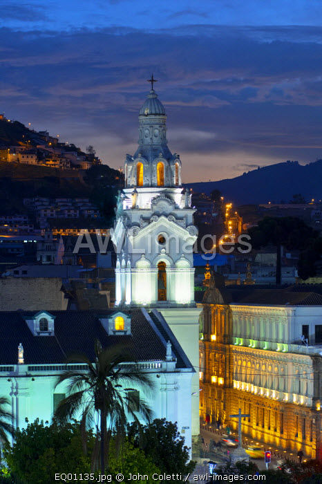 Metropolitan Cathedral of Quito, La Catedral, Belltower, Old Town, Historical Center, UNESCO World Cultural Heritage Site, Cathedral of Ecuador, Metropolitan Cultural Center, Calle Garcia Moreno, Quito, Ecuador