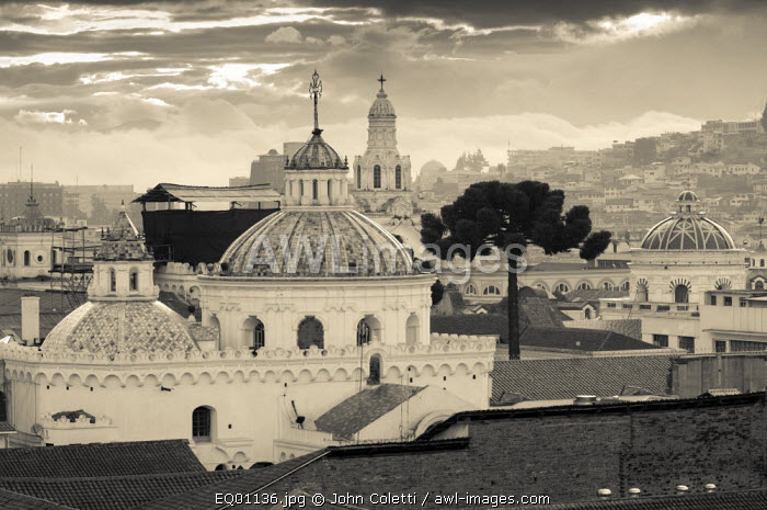 Two Domes of La Iglesia de la Compania de Jesus, Lined Dome of El Sagrario Church, Belltower of The Metropolitan Cathedral of Quito (la Catedral), Quito, Ecuador