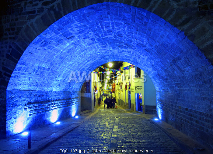 Arched Entrance To Calle La Ronda, One of The Oldest Streets In Quito, Mix of Restaurants and Houses, Quito, Ecuador