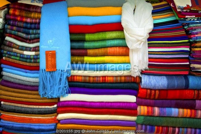 Hand Woven Alpaca Blankets And Shwals, For Sale At The Mercado Artesanal La Mariscal, Quito, Ecuador