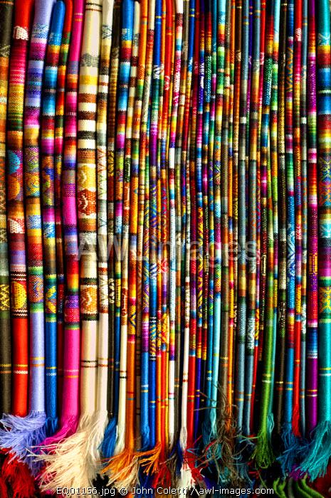 Hand Woven Textiles, For Sale At The Mercado Artesanal La Mariscal, Quito, Ecuador