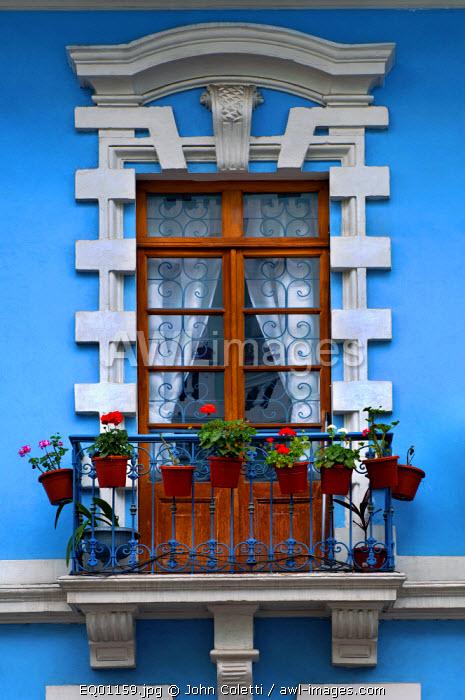 Restored Colonial Architecture, Apartment Window, Calle Venezuela, Quito, Ecuador