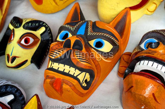 Saquisili Market, Wooden Animals Maks For Sale, Wool, Saquisili, Cotopaxi Province, Ecuador