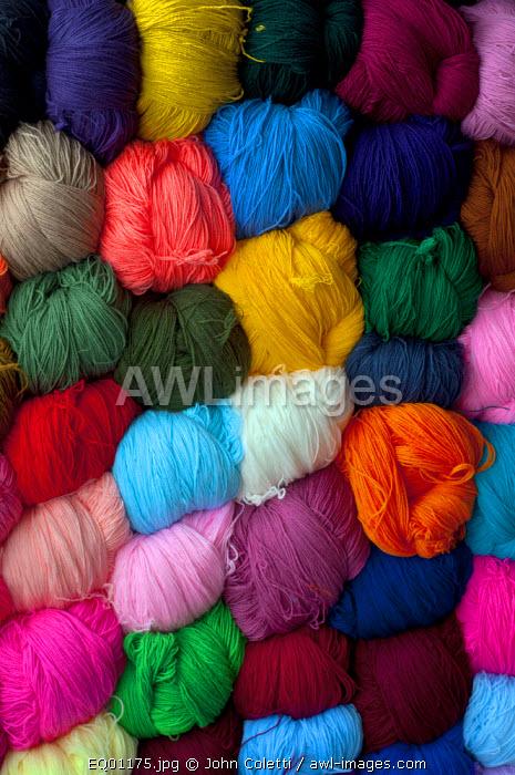 Saquisili Market, Balls of Dyed Yarn For Sale, Wool, Saquisili, Cotopaxi Province, Ecuador