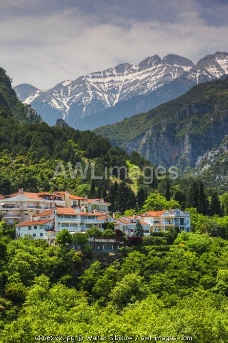 Greece, Central Macedonia Region, Litohoro, view of Mount Olympus