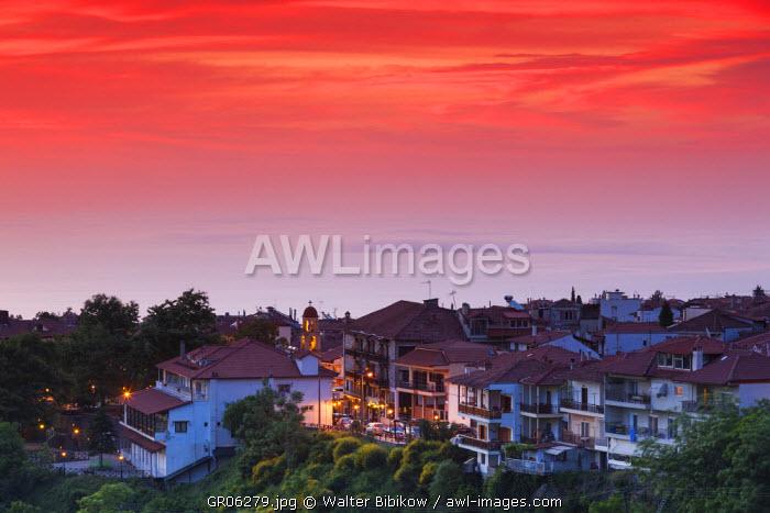 Greece, Central Macedonia Region, Litohoro, elevated town view, dawn