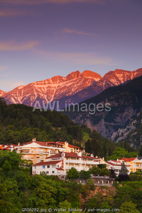 Greece, Central Macedonia Region, Litohoro, view of Mount Olympus, dawn