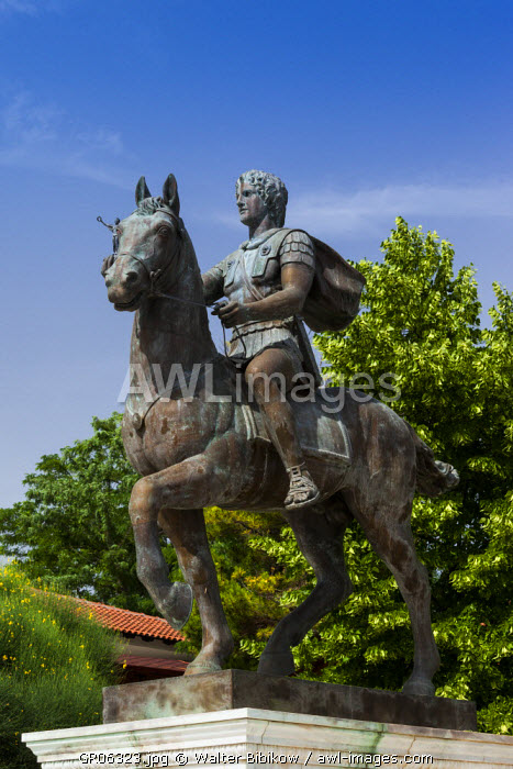 Greece, Central Macedonia Region, Pella, birthplace of Alexander the Great, statue of Alexander the Great