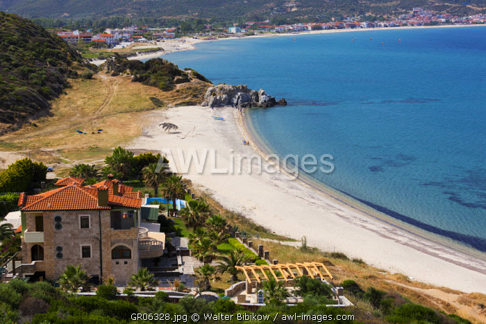 Greece, Central Macedonia Region, Halkidiki Area, Sithonia Peninsula, Sarti, elevated beach view