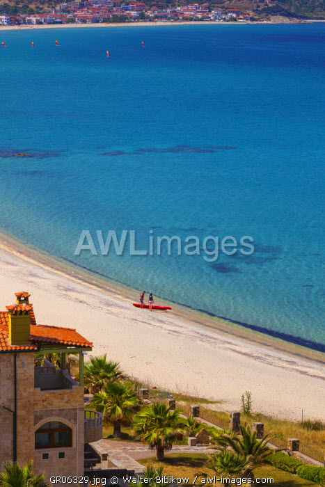 Greece, Central Macedonia Region, Halkidiki Area, Sithonia Peninsula, Sarti, elevated beach view