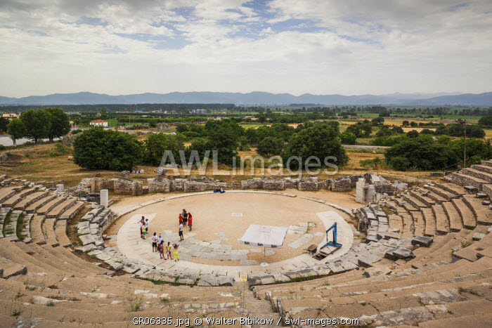 Greece, East Macedonia and Thrace Region, Philippi, ruins of ancient city founded in 360 BC, elevated view of the theater