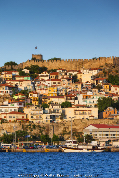 Greece, East Macedonia and Thrace Region, Kavala, elevated view of Old Town and Kastro fortress