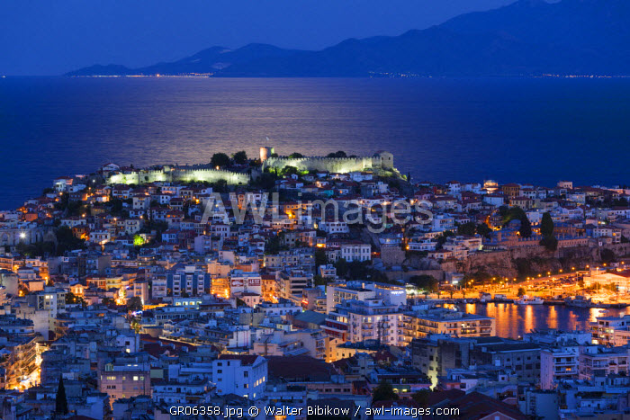 Greece, East Macedonia and Thrace Region, Kavala, elevated city view with Kastro fortress