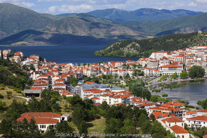 Greece, West Macedonia Region, Kastoria, elevated town view by Lake Orestiada