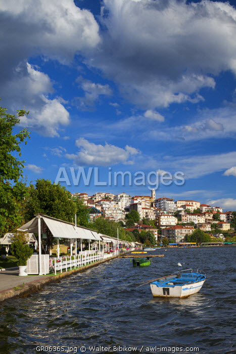 Greece, West Macedonia Region, Kastoria, town view by Lake Orestiada with lakeside cafes