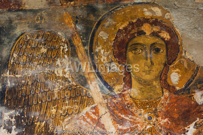 Greece, West Macedonia Region, Kastoria, Taxiarches Mitropoleos church, built in 9th century AD, fresco of Archangel Gabriel