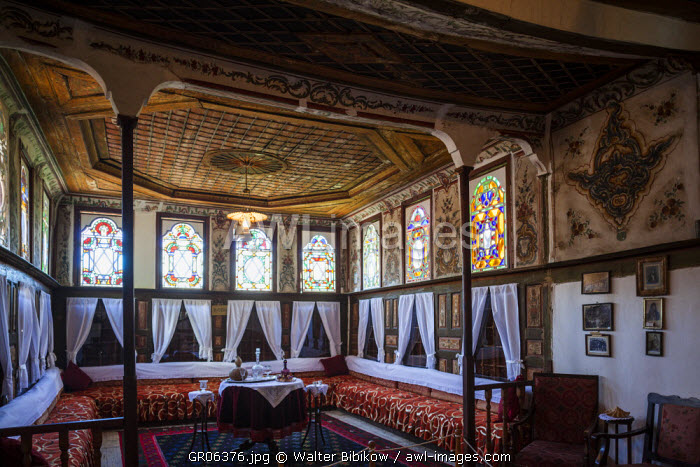 Greece, West Macedonia Region, Kastoria, Kastorian Museum of Folklore, housed in the 15th century house that belonged to the Aivazis family, dining room