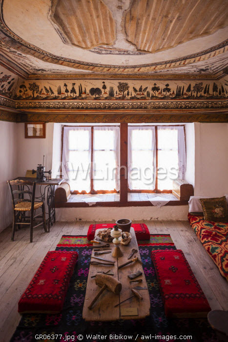 Greece, West Macedonia Region, Kastoria, Kastorian Museum of Folklore, housed in the 15th century house that belonged to the Aivazis family, living room
