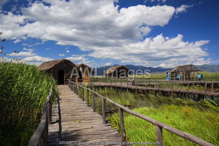 Greece, West Macedonia Region, Kastoria, Prehistoric Lake Settlement of Dispilio, reconstructed settlement from the Neolithic Era dating back to 5500 BC