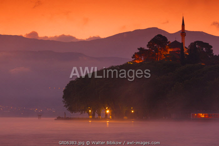 Greece, Epirus Region, Ioannina, Municipal Ethnographic Museum building and Lake Pamvotis, dawn