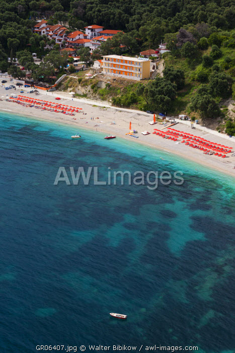 Greece, Epirus Region, Parga, back beach area, elevated view from the Venetian Castle