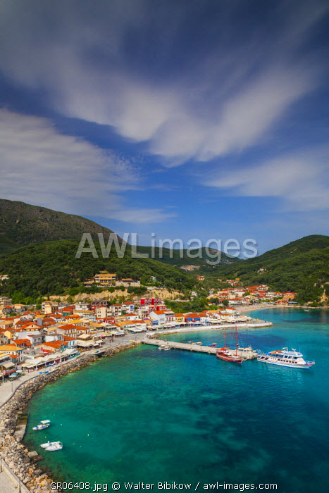 Greece, Epirus Region, Parga, elevated town view from the Venetian Castle