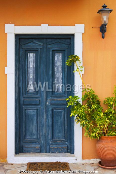 Greece, Epirus Region, Parga, harborfront house detail