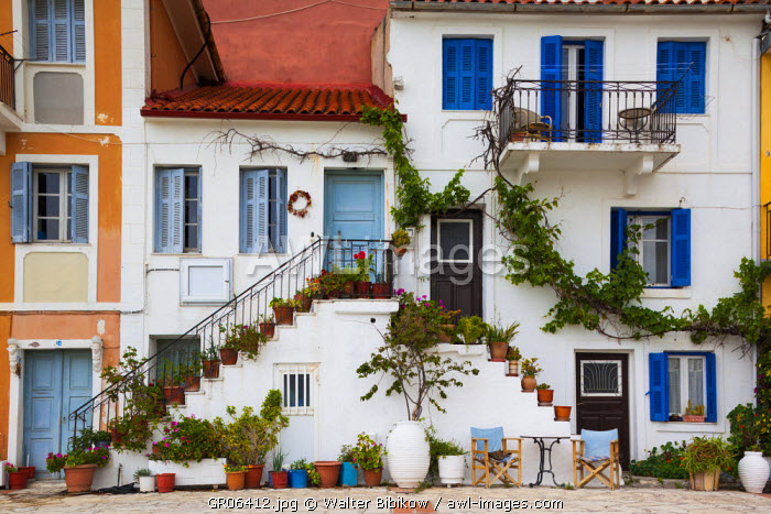 Greece, Epirus Region, Parga, harborfront house detail