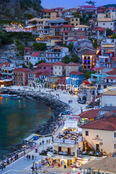 Greece, Epirus Region, Parga, elevated view of town
