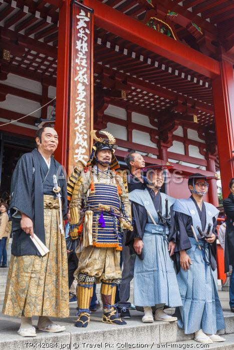 Japan, Honshu, Kanto, Tokyo, Asakusa, Sensoji Temple aka Asakusa Kannon Temple, Characters Posing in Traditional Costume