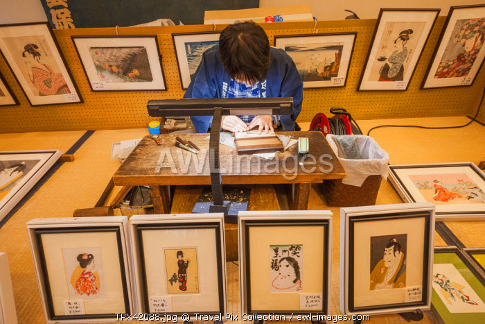 Japan, Honshu, Kanto, Tokyo, Asakusa, Edo Shitamachi Traditional Crafts Museum, Demonstration of Woodblock Making