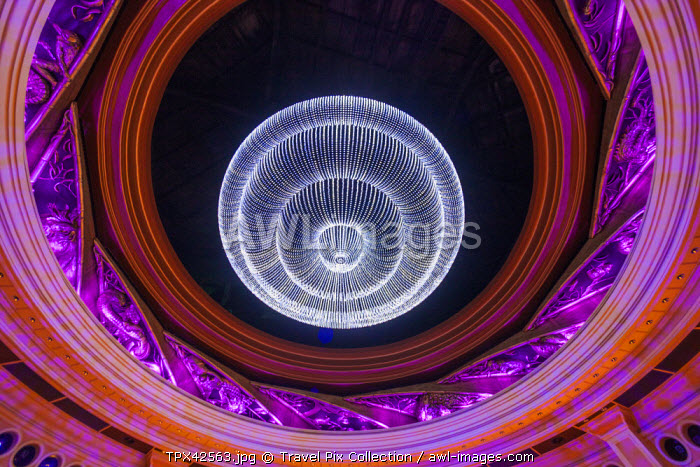 China, Macau, Wynn Hotel and Casino, The Atrium Ceiling, Opening Roof Revealing Chandelier