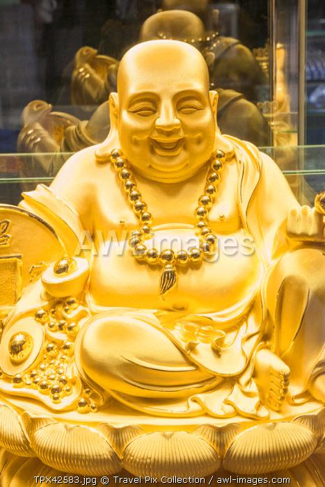 China, Macau, Gold and Jewellery Shop Window, Display of Gold Buddha Statue