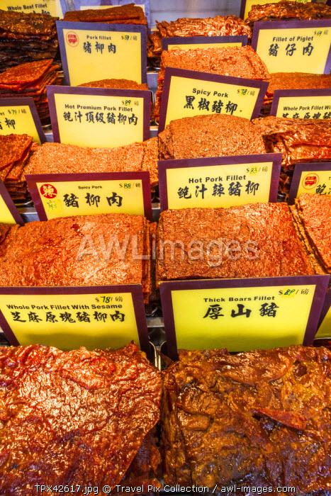 China, Macau, Shop Display of Bakkwa or Dried Meat