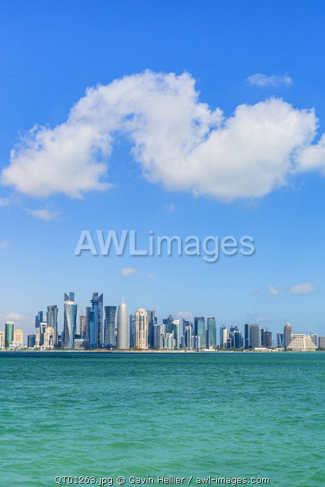 Qatar, Doha, new skyline of the West Bay central financial district of Doha