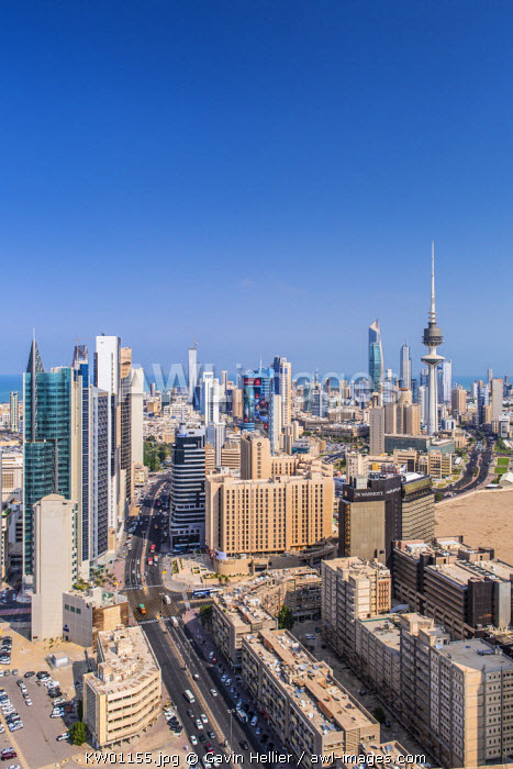 Kuwait, Kuwait City, Elevated view of the modern city skyline and central business district