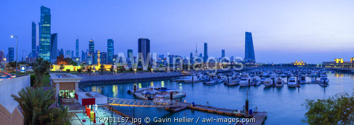 Kuwait, Kuwait City, the city skyline viewed from Souk Shark Mall and Kuwait harbour