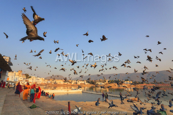 India, Rajasthan, Pushkar Holy Town, Bathing Ghats on the Lake