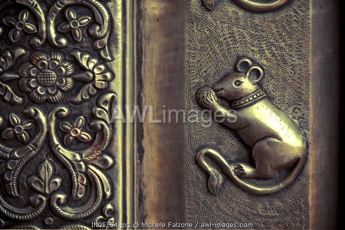 India, Rajasthan, Deshnok, Karni Mata Temple (Rat Temple), Detail of Silver door