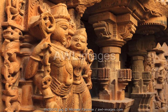 India, Rajasthan, Jaisalmer, Jaisalmer Fort, Jain Temple, Stone Carving detail