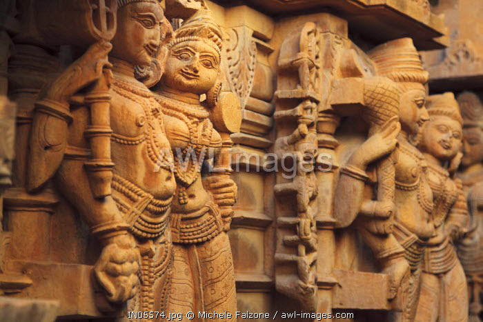 India, Rajasthan, Jaisalmer, Jaisalmer Fort, Jain Temple, Stone Carving detail