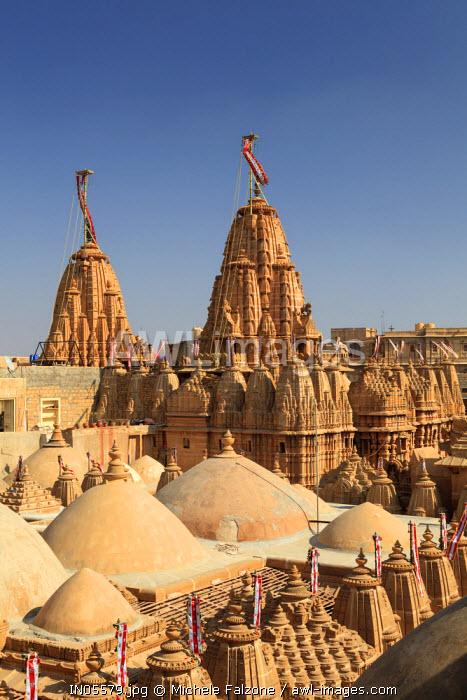 India, Rajasthan, Jaisalmer, Jaisalmer Fort, roof of Jain Temple