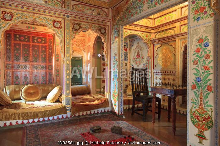 India, Rajasthan, Jaisalmer, Old Town, Patwa Ki Haveli (Traditional Ornately decorated residence)
