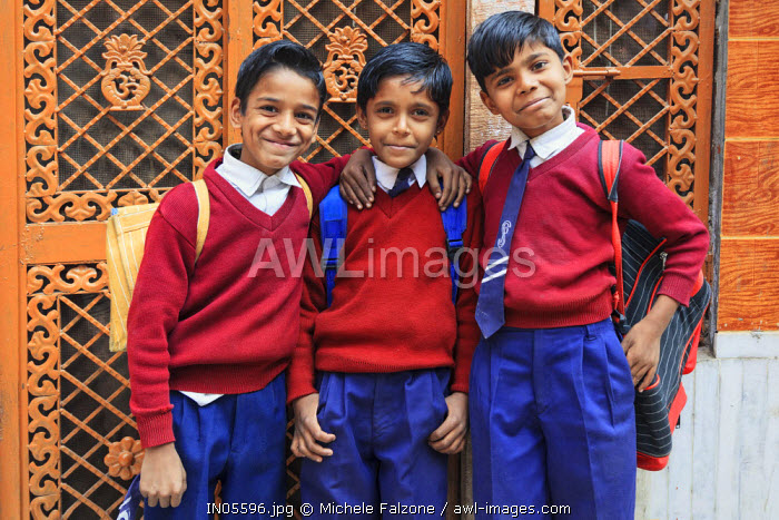India, Rajasthan, Jodhpur, Old Town, Local Children in school outfit